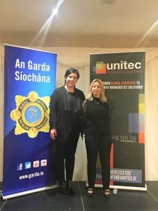 Michelle & Ava, from the Unitec team, at the Garda Fraud & Cyber Crime Prevention Seminar in Clonmel in February 2020